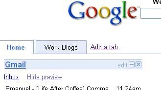 Tabs in Google Portal