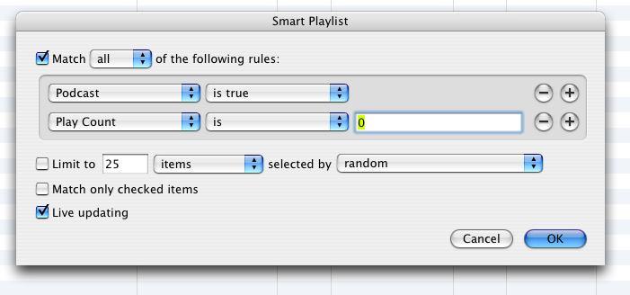 Smart Playlist setup