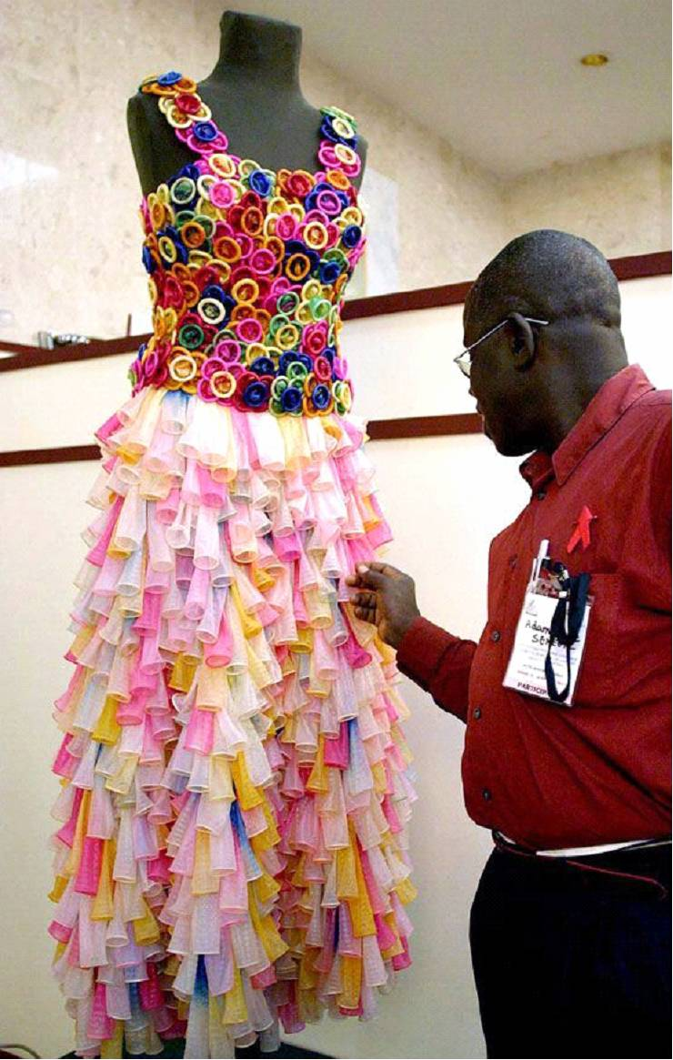 A dress made of condoms